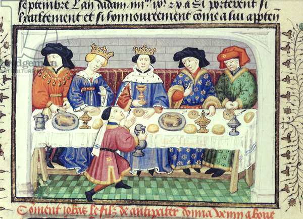 Royal 15 EVI fol.22v Iobas offers poison to Alexander, from the 'Shrewsbury Talbot Book of Romances', c.1445 (vellum)