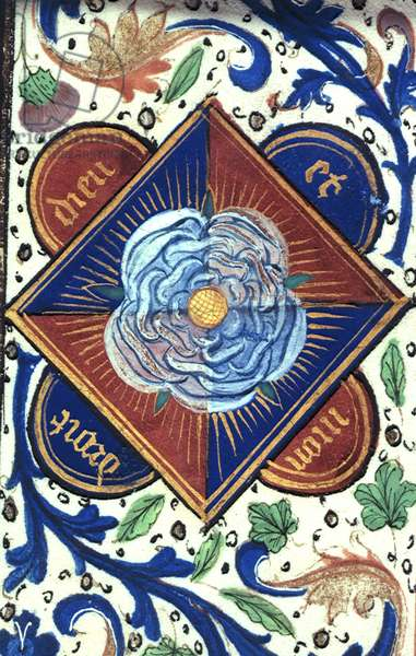 Roy 14E.IV fol.10 White Rose of the House of York, from 'Chronique d'Angleterre' by Jean de Wavrin (vellum)