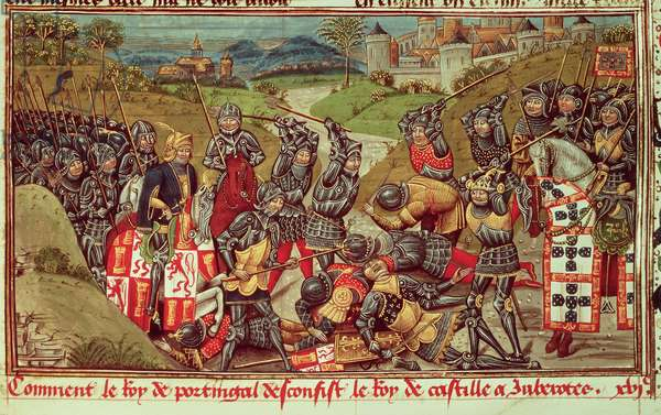 Royal Ms 14 E IV f.204: Juan I of Avis beating Juan I of Castile in the Battle of Aljubarrota, Portugal, 1385, from Vol. III of Jan Batard de Wavrin's 'Chronique d'Angleterre: from the Coronation of Richard II to 1387' (vellum)