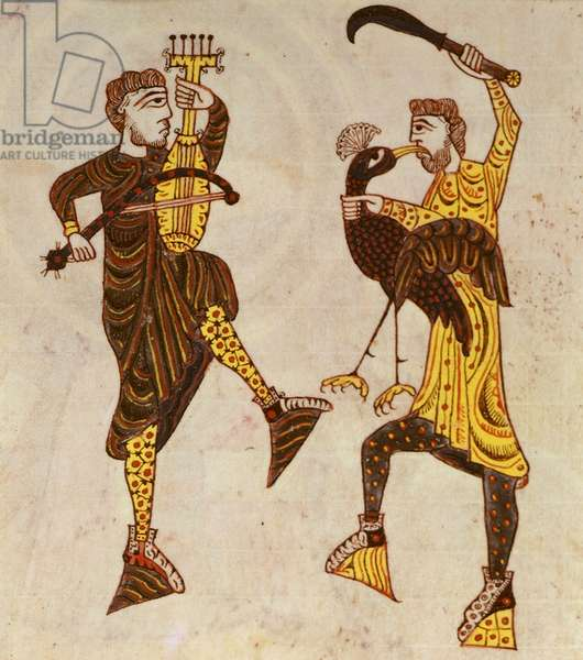 F.86 Two Men Dancing, from the Beatus Apocalypse from Santo Domingo de Silos, 1109 (vellum)