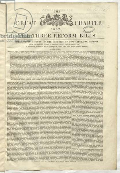 The Great Charter of 1832. After decades of popular agitation for reform, Parliament finally bowed to pressure in 1832 and passed the Representation of the People Act, commonly known as the Great Reform Act. The Act granted a limited extension of the franchise, based largely on a broadening of the property qualification in the counties and the creation of a uniform franchise in the boroughs. It also redistributed electoral constituencies, increasing representation for the rapidly growing industrial towns, to begin to reflect the major population changes of the period. The Great Reform Act was presented as a new Magna Carta in popular prints and in other mass-produced items, including cordial bottles and figurines. Published soon after the Act was passed, this book, entitled The Great Charter of 1832, presents it as another Magna Carta. In the introduction, the anonymous author traces the history of constitutional reform, claiming that Magna Carta was a milestone in the advance towards fairer parliamentary representation.