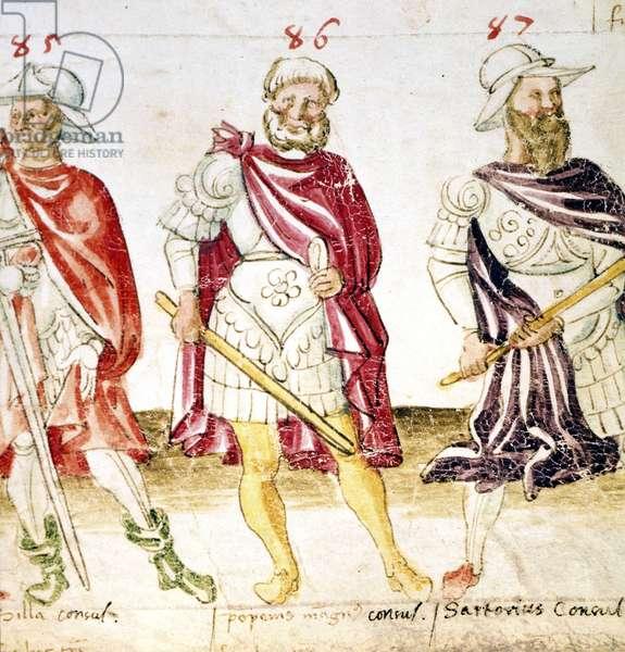 "Representation de Pompee le Grand (Gneo Pompeo Magno ou Gnaeus Pompeius Magnus, 106-48 av JC) (au centre), de Lucius Cornelius Sulla ou Sylla (138-68 av. JC) (a gauche) et de Sartorius, consul romain (a droite). """"Les six ages du Monde"""", 15eme siecle The british Library Pompey, Silla and Sartorius, 15th century. Illustration of Pompey, wearing armour, between the consuls Silla and Sartorius. From """"Six Ages of the World"""", produced in Italy. ©The British Library Board/Leemage"