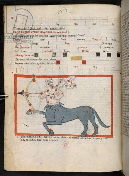 f. 18v.  Sagittarius, from Introductorius ad Judicia Astrologiae. 14th century