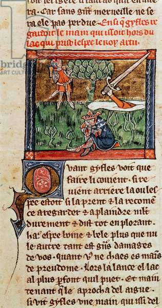 Add 10294 f.94 Sir Bedivere returns Excalibur to the lake at the death of King Arthur, c.1316 (vellum)