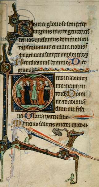Egerton 1151 fol.47 Inhabited initial 'D' with musicians, from the 'Egerton Hours', c.1260-70 (vellum)