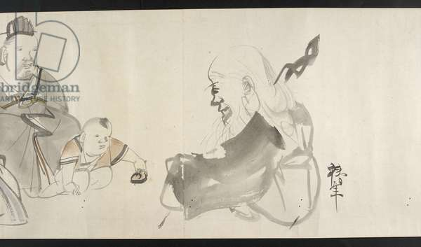 Or. 14872, f.30 Two adults and a child, from Yoshida Seisai (handscroll)