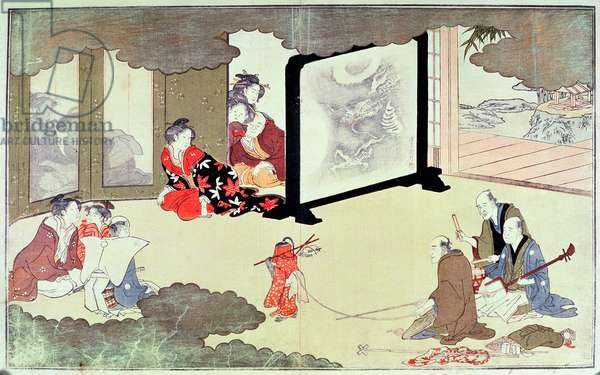 A monkey trainer performing at a nobleman's house, c.1788 (colour woodblock print)