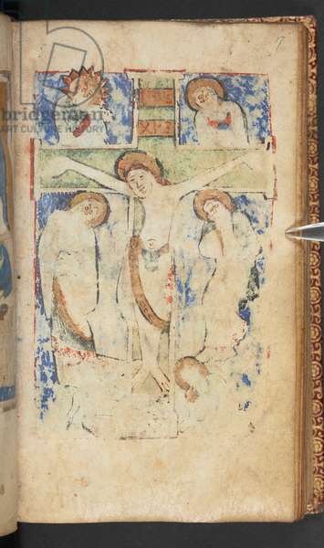 Harley 2928, f.17r, Christ on the cross, Scene from the Gospel of St. John (vellum)