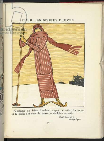 """""""Pour les Sports D'Hiver."""" Costume en laine Shetland rayée de soie. La toque et le cache-nez sont de feutre et de laine assortie. Modèle James et Co, Champs-Élysées."""