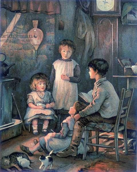 Un jeune garcon raconte une histoire a ses trois petites soeurs, assis pres d'une cheminee. In