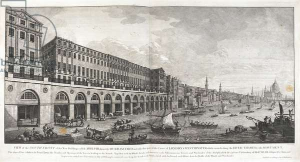 'View of the South Front of the New Buildings called Adelphi, formerly Durham Yard, and also that part of the Cities of London & Westminster which extends along the River Thames to the Monument'. A perspectival view with the Adelphi on the left, men drawing carts through the ground floor arcade and passages to the Strand, loading and unloading boats on the embankment in front; looking along the busy river towards Blackfriars Bridge and St Paul's Cathedral, in the distance to the right