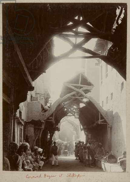Dhak Bazaar, Covered Bazaar of Shikarpur (b/w photo)