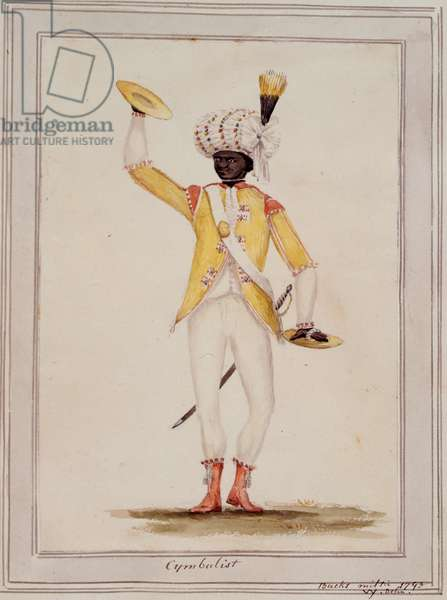 A Cymbalist, from Sir William Young's 'Drawings of Uniforms of the Bucks Militia', 1793 (colour litho)