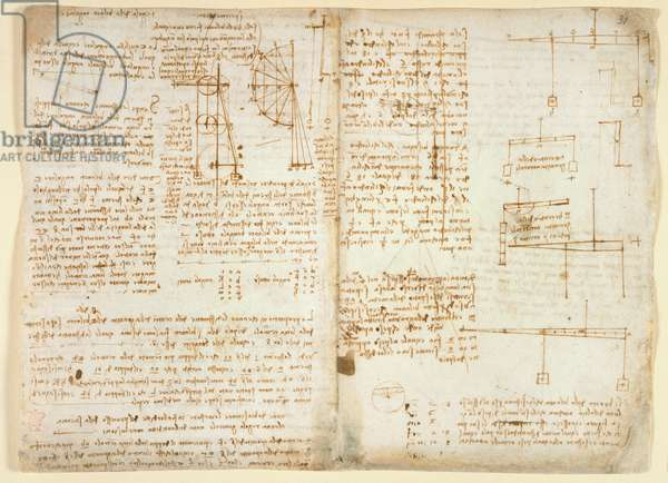 Arundel 263 f.32v, f.31 Notes and diagrams on mechanics, from 'Codex Arundel', 1503-05 (pen & ink on paper)