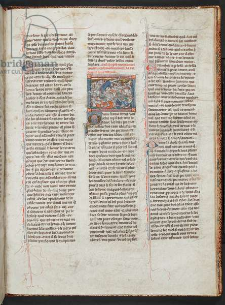 Add Ms 10294 f.93: Arthur mortally wounded, from 'La Mort le Roi Artus', c.1316 (vellum)