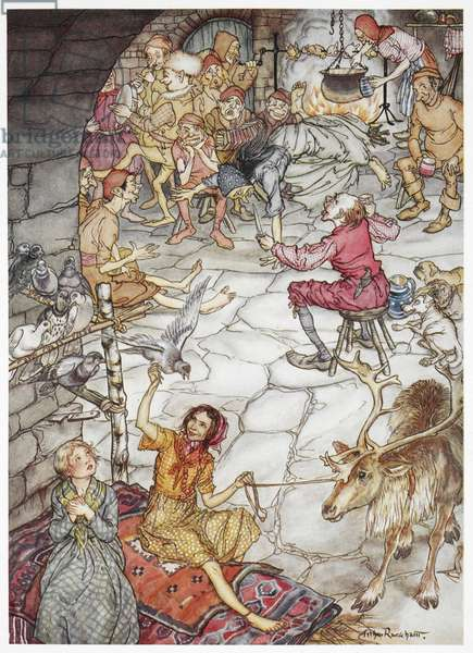 """""""Gerda and the little robber girl in the robber's castle'. Two young girls sitting on a bed, one of them holding a rope to which is tied around a reindeer. Wood pigeons are perched above them. A group of men, robbers, are sitting around a fire drinking and singing. A spit-roast and pot are over the fire. Illustration for 'the little robber girl', a story within the main tale, 'the snow queen'."""
