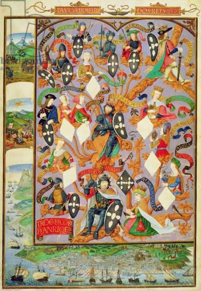 Add Ms 12531 f.7 Genealogical tree of Alfonso I (1128-85), 1530 (vellum)