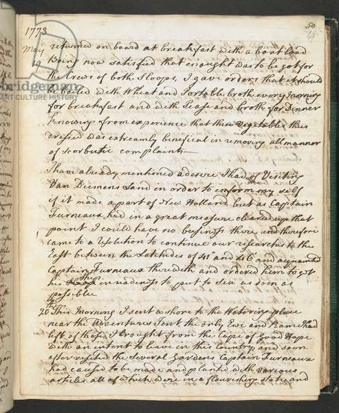 Add. 27888, f.69r, Page from May 19, 1773, from 'Account prepared for publication by Captain J. Cook of his second voyage round the world; April, 1772-July, 1774', 1773 (pen & ink on paper)
