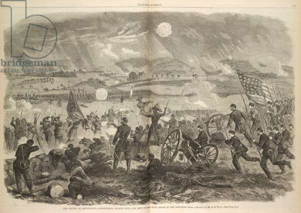 The battle of Gettysburg - Longstreets attack upon our left centre - blue ridge in the distance.