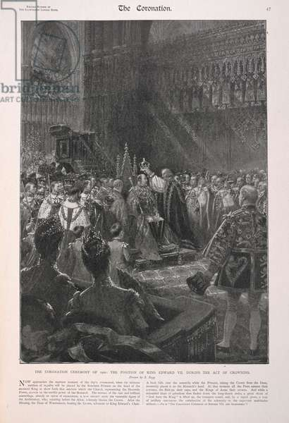 The coronation ceremony of 1902: The position of king Edward VII during the act of crowning.
