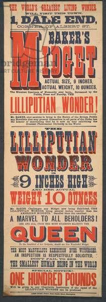 Poster advertising Mr Baker's Midget, 1890 (colour litho)