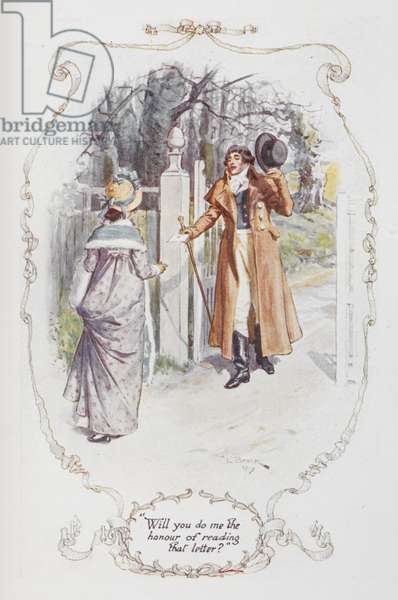 """""""Will you do me the honour of reading that letter ?"""", illustration to 'Pride and Prejudice' by Jane Austen, 1907 (colour litho)"""