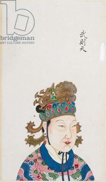 The Empress Wu Zetian, who usurped power during the Tang dynasty in China. She ruled from AD 684 to 705.