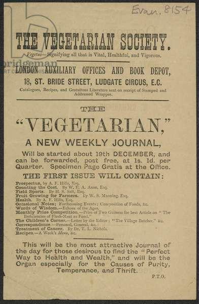 Advert For 'The Vegetarian' Journal, 1881 (print)