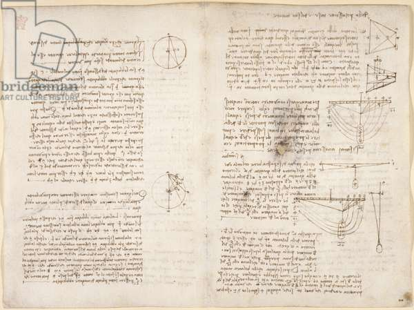 Arundel 263, f.12v, 3r Notes and diagrams on mechanics, from 'Codex Arundel', 1508 (pen & ink on paper)