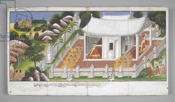 Or. 13534, f.1, Scenes from the Life of Buddha (parchment)