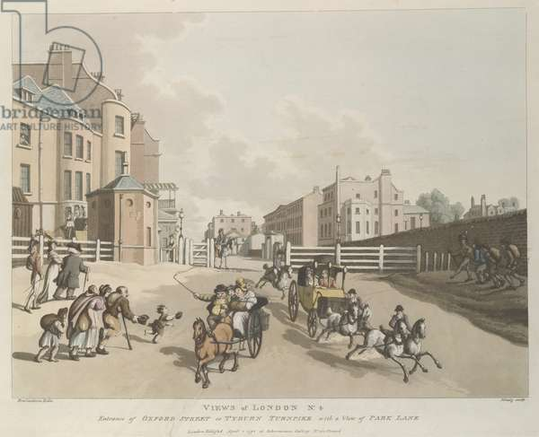 On the right is the wall of Hyde Park, above which appear a few houses in Park Lane. Oxford Street recedes diagonally to the left beyond the turnpike. A coroneted travelling chaise with four galloping horses and two postilions advances towards the spectator. Beside it is a two-wheeled cart in which three country people are crowded. Beggars (left) limp towards the gate, one on crutches. A young woman on the arm of an elderly man looks over her shoulder at a handsome officer in regimentals. In the shadow of the wall (right) a recruiting sergeant marches at the head of three shambling recruits