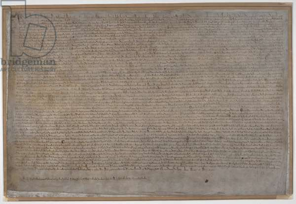 The Magna Carta. The Great Charter of English liberties, first issued by King John at Runnymede on 15 June 1215. This document is one of the four surviving exemplifications