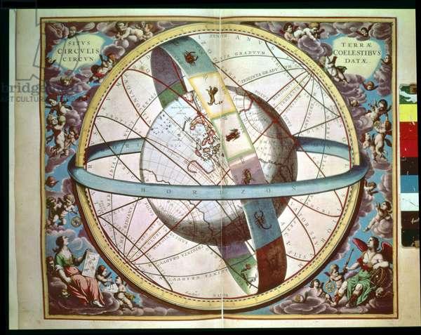 "World map with encircling zodiac, 'Situs Terrae Circulis Coelestibus Circundate"", from 'The Celestial Atlas, or the Harmony of the Universe' (Atlas coelestis seu harmonia macrocosmica) Amsterdam, c.1660"