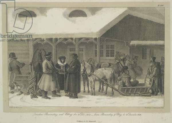 Between Braunsberg and Elbing. Officers and soldiers of Napoleon's Grand Armée with a sleigh outside an inn. Possibly, Napoleon is depicted in this scene though he had arrived in Paris on the 18th December and this plate is dated 21st December.