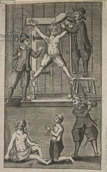 Torture and execution scenes, 'A true relation of the unjust, cruel and barbarous proceedings against the English at Amboyna', 1665 (engraving)