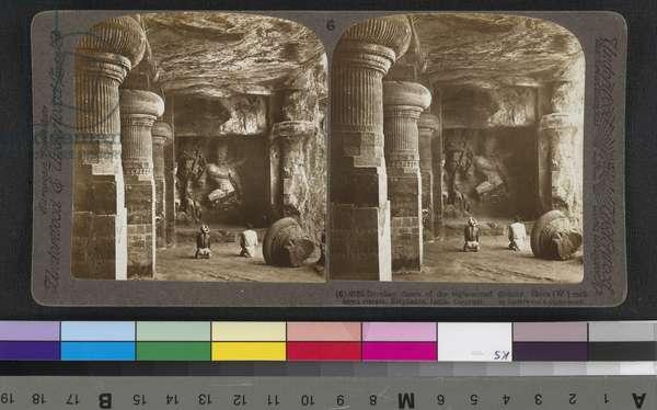 Drunken dance of the eight-armed divinity, Shiva, rock-hewn temple, Elephanta, India, 1903 (stereoscopic print)