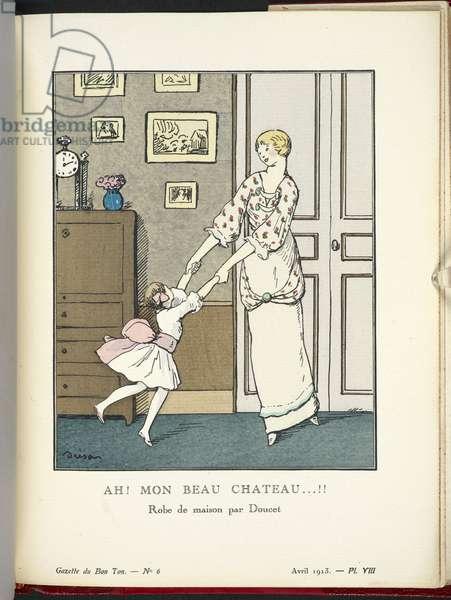 """""""Ah! Mon Beau Chateau...!! Robe de maison de Doucet en mousseline de laine à petites cotes; corsage brodé de petites roses; manches et volants de mousseline galonnés de rubans. Design by Jacques Doucet (French, 1853-1929)."""