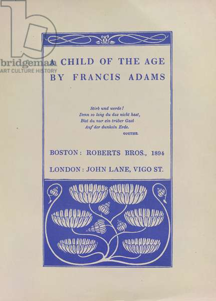 """A child of the age, decorated Book Paper for 'A Child of the Age' by Francis Adams. Image taken from: 20 Miniature Posters drawn by Aubrey Beardsley. Representing the title designs of the """"Keynotes Series."""".. Published by Roberts Bros: Boston, 1895 (drawing)"""