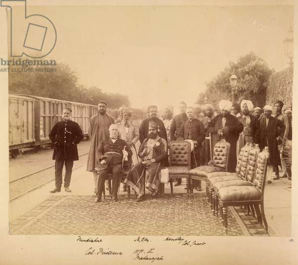 The Resident, Colonel William Prideaux and Maharaja Sawai Madho Singh, with officials at the railway station, Jaipur