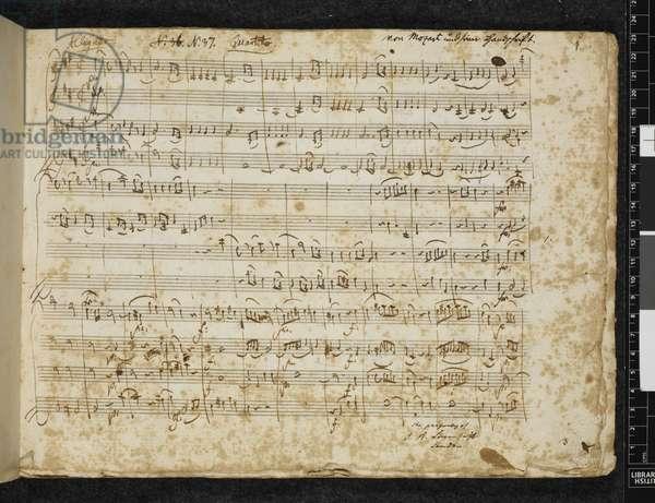 Add MS 37764 f.1 String quartet in D major, K. 499, 1786 (ink on paper)