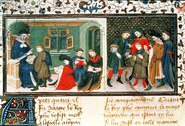Roy 17 E III f.209r Master and pupils, from 'Des Proprietez des Choses' by Bartholomaeus Anglicus (vellum)