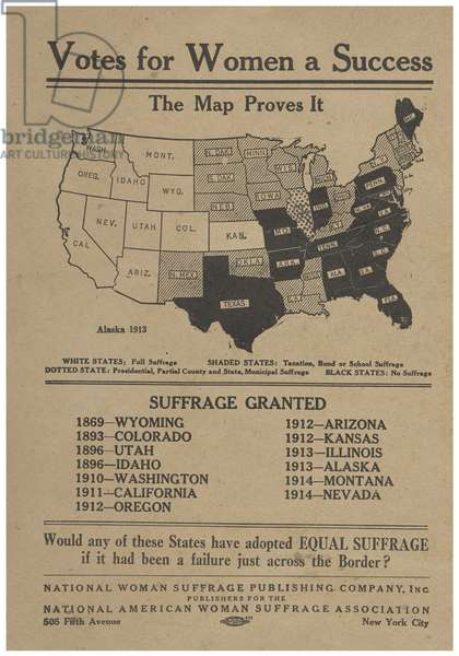 Votes for women a success: the map proves it, poster by the National American Women's Suffrage Association, 1914 (engraving)