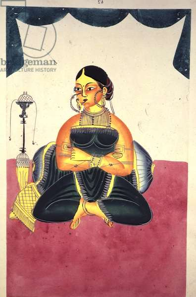 Add Or 906 A Courtesan seated cross-legged beside a 'nargila' pipe, c.1865 (w/c & silver paint on paper)