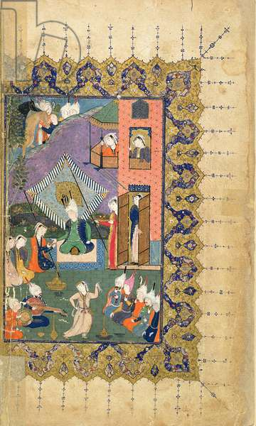 Or.5346 f.1v A prince in a harem seated under a canopy and being offered wine by a woman, Persian