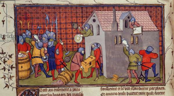 Royal 20 C. VII, f.41 v Soldiers Pillage a house, illustration from 'Chroniques de France ou de Saint Denis' (vellum)