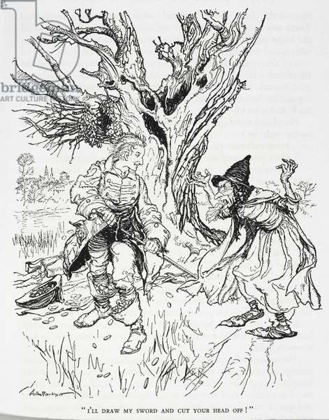 """""""I'll draw my sword and cut your head off"""", illustration from 'The Tinder-Box', by Hans Christian Andersen (litho)"""