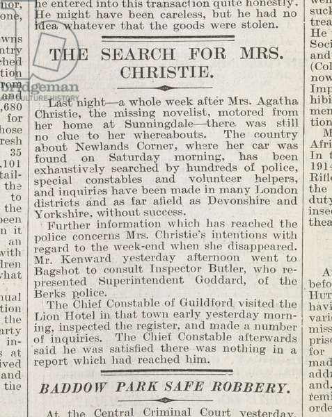 Agatha Christie, Novelist's Disappearance, 'The Daily Mirror', 1926 (newsprint)
