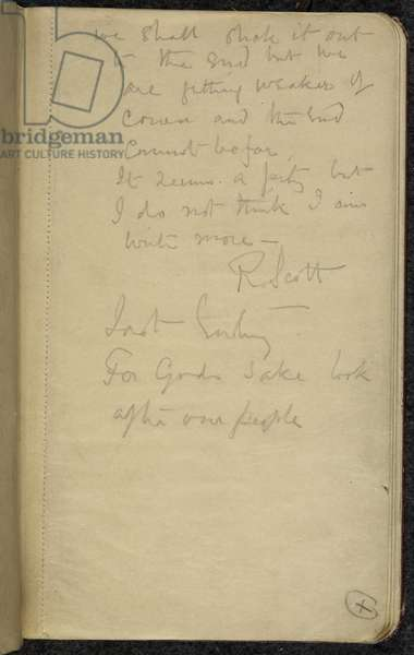 """Add MS 51035, f.39r, """"For God's sake look after our people"""", Scott's last entry before he died, Captain Scott's Diaries, Vol III, 1912 (pencil on paper)"""
