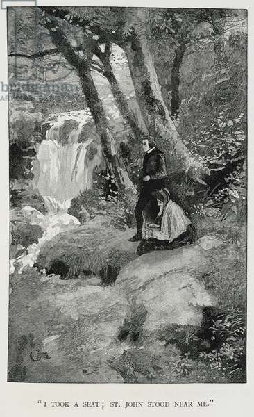 """I took a seat; St. John stood near me"". Illustration showing a man and woman in a wood, near a waterfall."