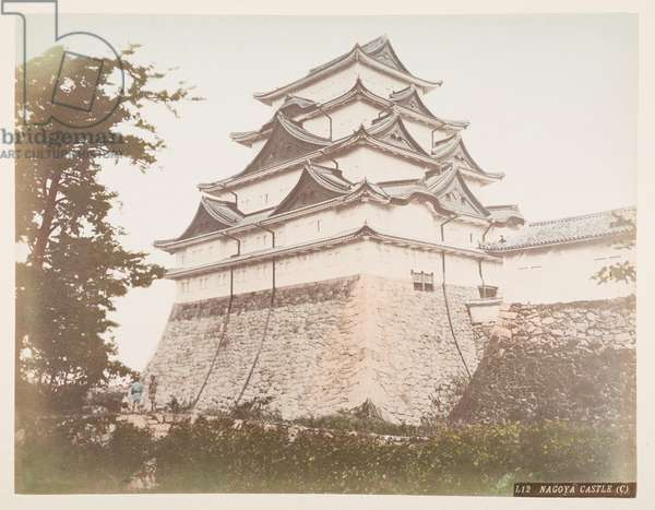 Nagoya Castle, from A Book of Coloured Photographs of views in Japan, 1895 (coloured photo)